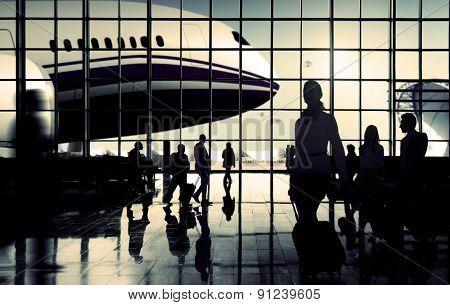 International Airport Commuter Passenger Traveling Concept
