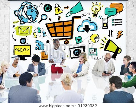 Business People Online Marketing Meeting Discussion Concept