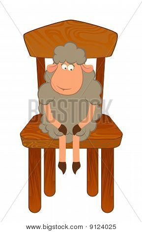 Cartoon funny sad sheep sits on a chair.