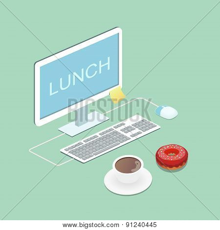 Laptop, coffee and donut  illustration Vector concept  Lunch