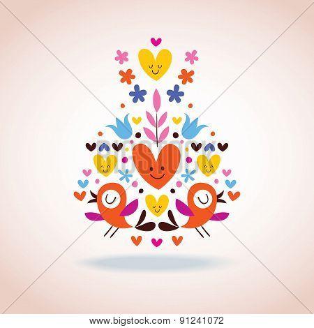 flowers, hearts & birds illustration