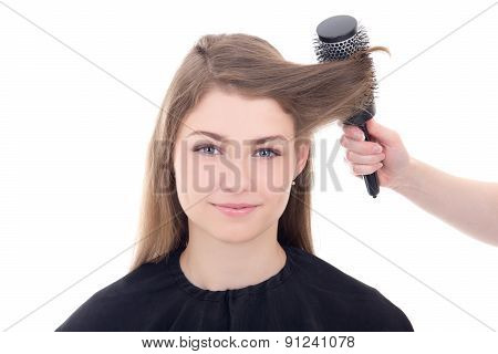 Hairdresser Doing Haircut To Young Beautiful Woman Isolated On White