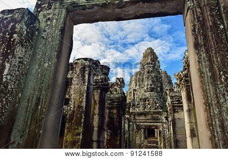 Stone Faces Castle At Bayon Temple, Angkor Thom, Siem Reap, Cambodia