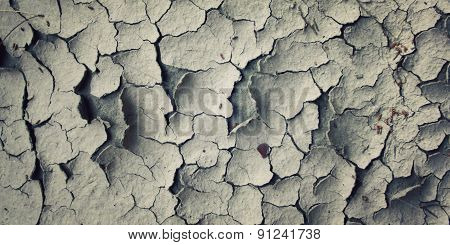 Cracks In The Dried Soil. Aged Photo.
