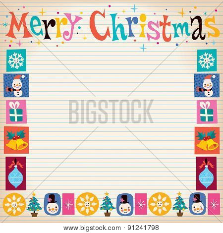 Merry Christmas retro greeting card with copy space
