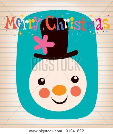 Merry Christmas snowman retro greeting card