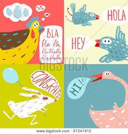 Colorful Fun Cartoon Domestic Animals Greeting Cards