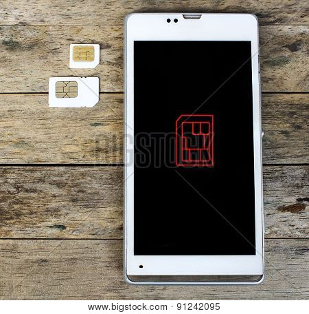 Smartphone Warning To Insert Sim Card