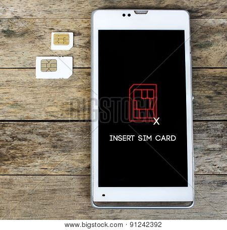 Smartphone Warning To Insert Sim Card, Message, Icon
