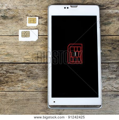 Smartphone Warning To Insert Sim Card,  Icon
