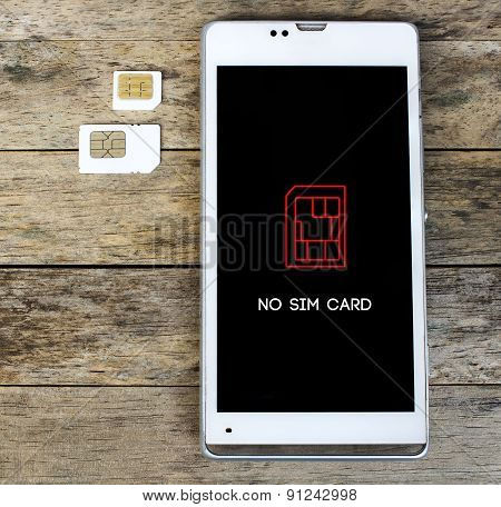 Smartphone Warning To Insert Sim Card, Message