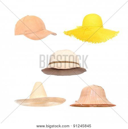 Collection of headwear for summer activities. Hats in position for easy face insert.