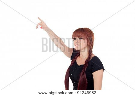 Teenage girl dressed in black with a piercing in the nose indicating something isolated on white background