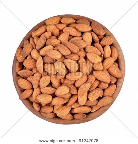 Peeled Almonds In A Wooden Bowl On A White Background