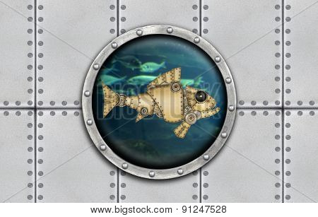 Submarine armoured porthole metal background