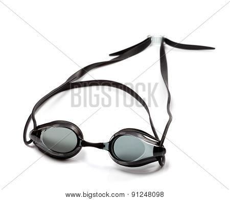 Black Goggles For Swimming On White Background