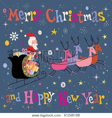 Santa and his sleigh flying Merry Christmas and Happy New Year Greeting card