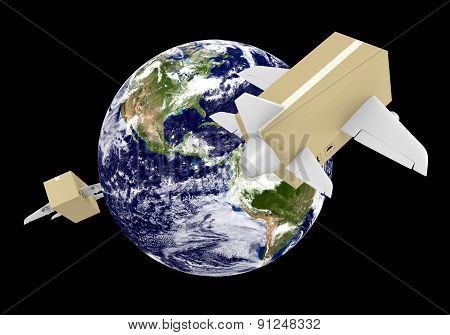 Global airmail shipping with cardboard box planes