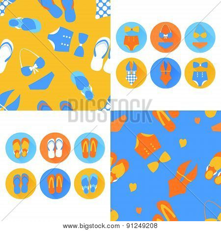 Woman vector seamless pattern with swim suit set