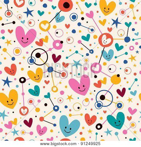 Hearts, dots and stars funky cartoon pattern