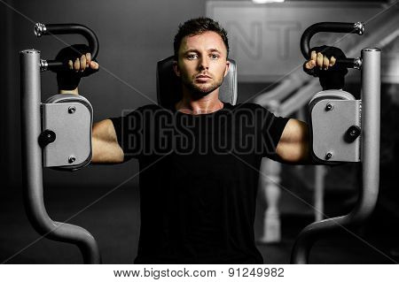 Handsome Sexy Man Workout In Gym