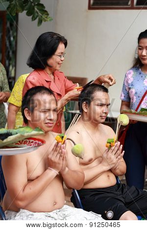 Male Who Will Be Monk Cut Hair For Be Ordained