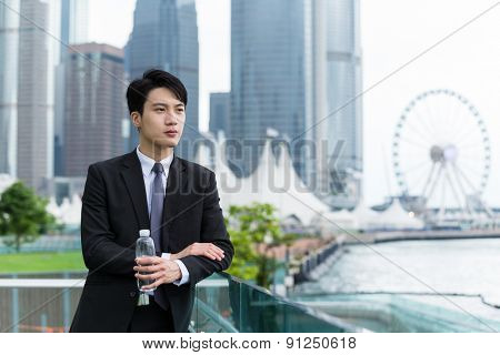 Businessman think of idea at outdoor