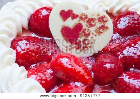Cake With Strawberry Heart Shape Chocolate