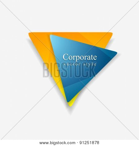 Vector background of abstract triangle shapes. Blue and orange colors technology logo