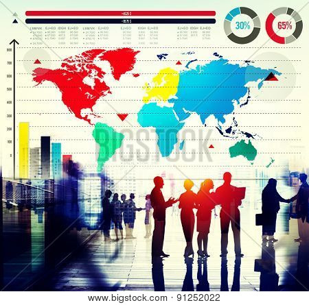 Global Business Graph Growth World Map Concept