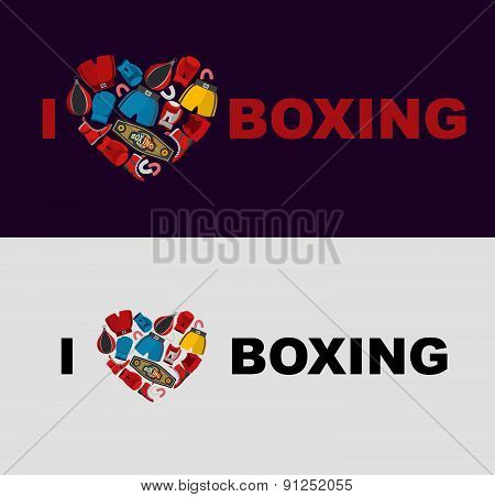 Symbol of the heart of boxing gear: helmet, shorts and boxing gloves. I love boxing.