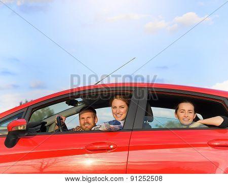 Friends In A Car.