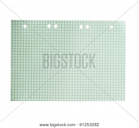 green sheet of paper from a notebook into a cell
