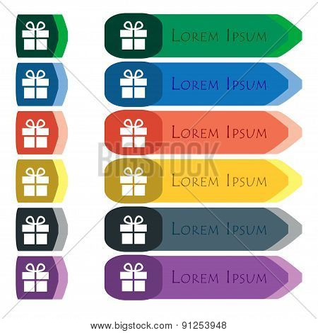 Gift Box  Icon Sign. Set Of Colorful, Bright Long Buttons With Additional Small Modules. Flat Design