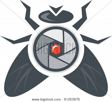Fly With Camera Lens On Back Isolated