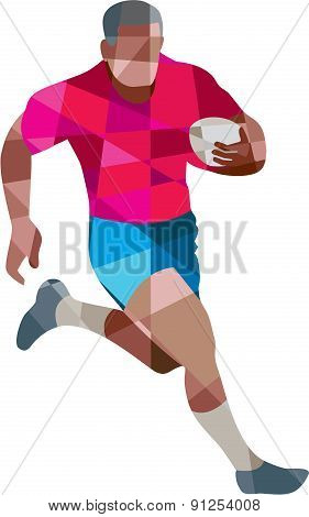 Rugby Player Running Side Low Polygon