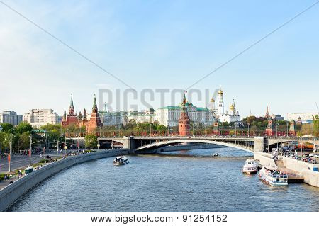 Panorama View Of Moscow - Moscow-river, Kremlin, Grand Kremlin Palace, Cathedral Of The Archangel.