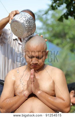 Male Who Will Be Monk Shaving Hair For Be Ordained