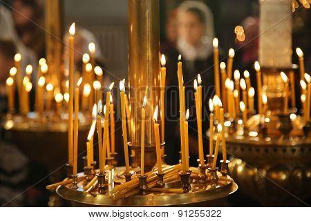 Burning Candles In Thechurch, Sacred Fire