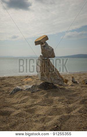 Amazing Pyramid Of Stones On The Beach In Schinias, Attica, Greece