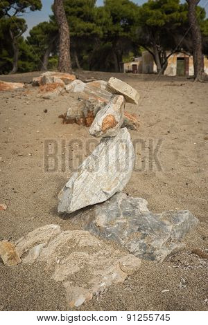 Amazing Pyramid Of Stones On The Beach In Schinias, Attica, Greece