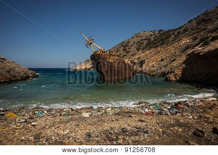 Shipwreck, Amorgos, Cyclades, Greece