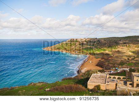 Seacoast On Small Island Gozo, Malta.