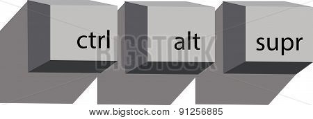 Vector Illustration Of Keyboard Buttons.