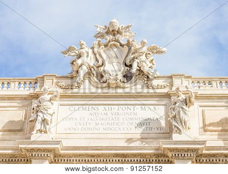 Details on the top of the Fontana di Trevi, Rome, Italy