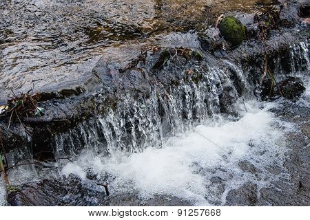 A Small Waterfall In A Woodland Stream In England