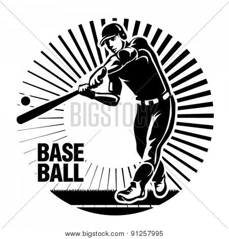 Baseball player hits a ball. Vector illustration in the engraving style.