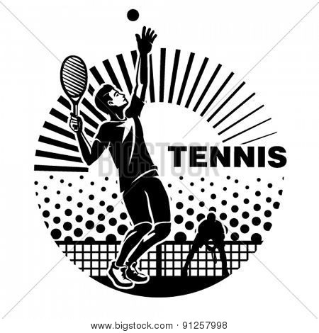 Feeding the ball on the tennis court. Vector illustration in the engraving style.