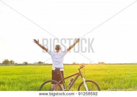 Cyclists Take Yourself Selfie Rice Fields