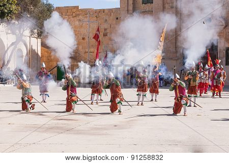 Mtarfa, Malta - February 21, 2010 -  Knights Of The Order Of St. John During Reenactment. Tourists W
